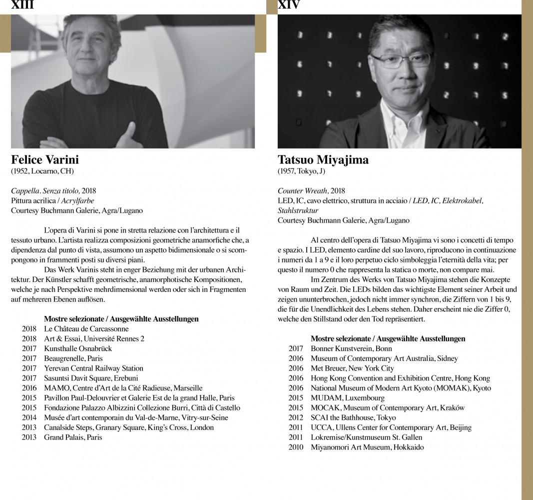 'Tonatiuh Ambrosetti, Lawrence Carroll, Tony Cragg, Daniela Droz, Alberto Garutti, Wolfgang Laib, Tatsuo Miyajima – 14 artisti. Via Crucis - Madonna d'Ongero - Carona'