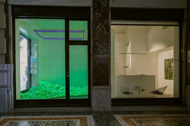 Alex Dorici, 'Pointillism Garden Balls #2', Installation view, Buchmann Lugano / Via della Posta, 2015