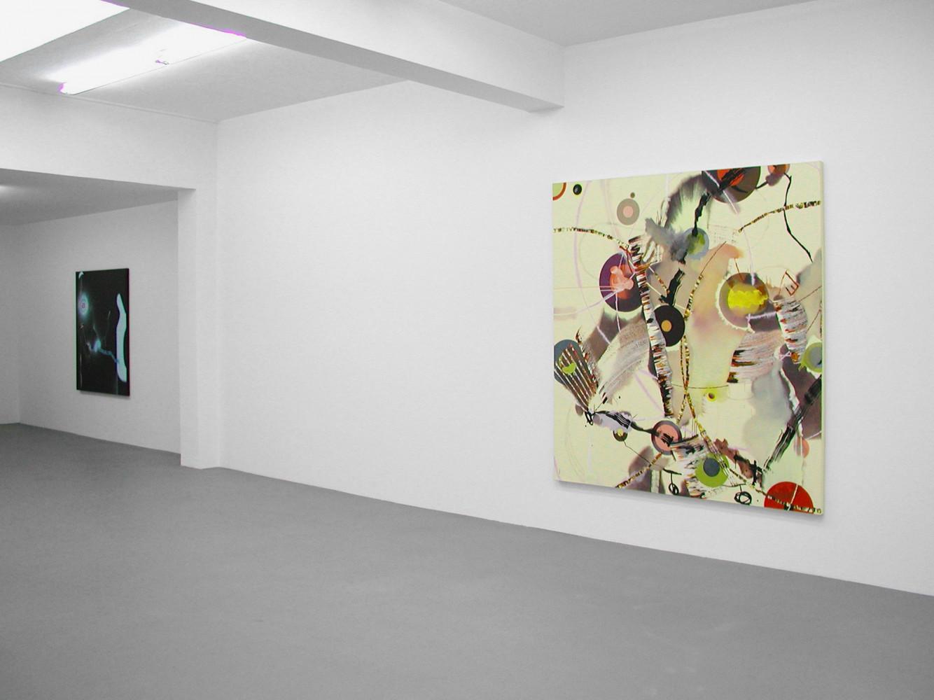 'Malerei – Arturo Herrera, Dennis Hollingsworth, Fiona Rae, Juan Uslé', Installation view, 2003