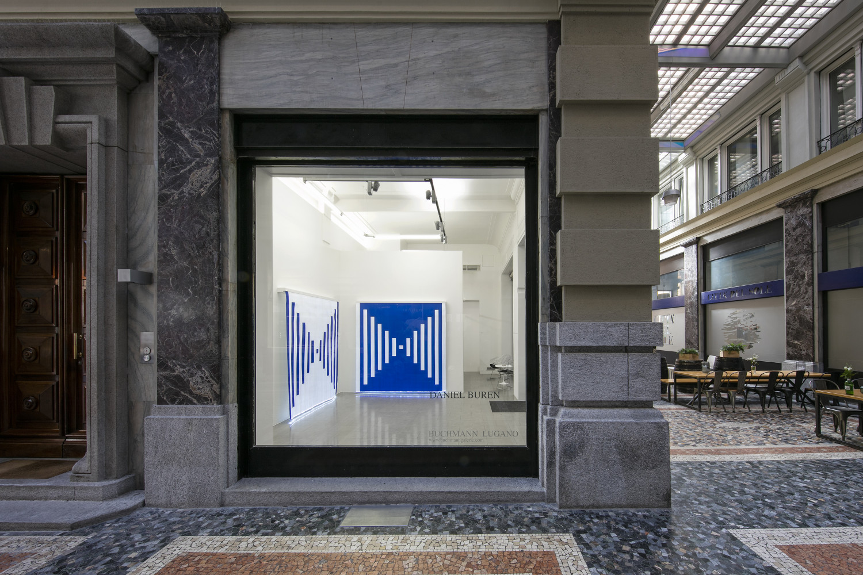 Daniel Buren, 'DANIEL BUREN  – Fibres Optiques - Diptyque: travail situé', Installation view, Buchmann Lugano, 2019