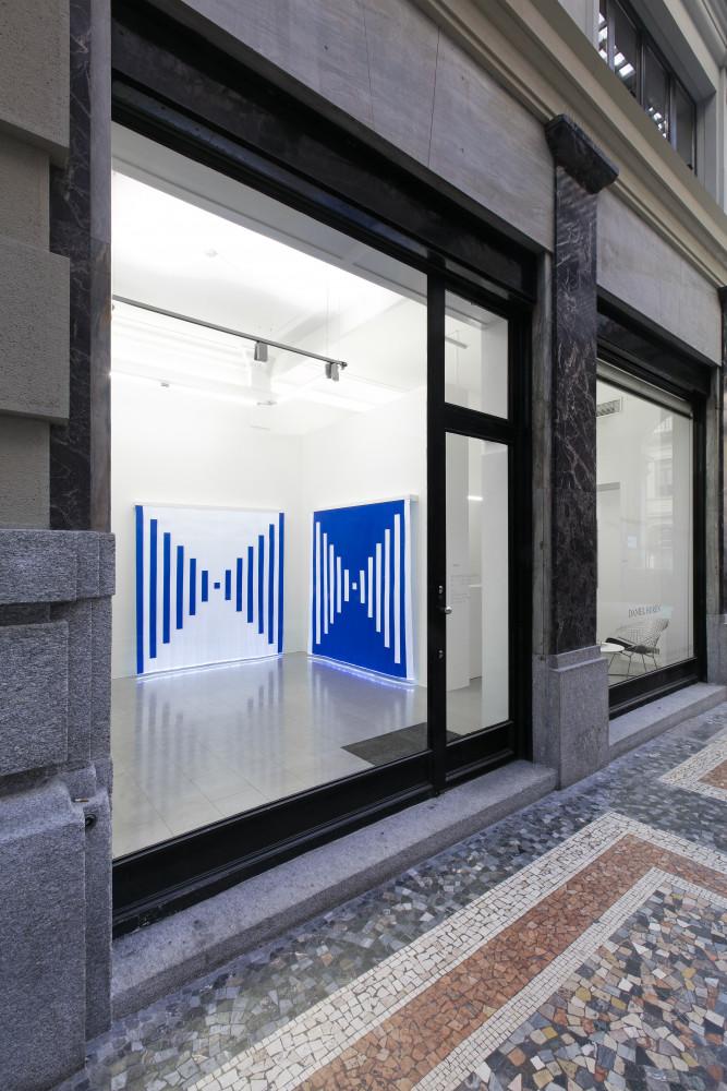Daniel Buren, 'DANIEL BUREN  – Fibres Optiques - Diptyque: travail situé', Installation view, Buchmann Lugano / Via della Posta, 2019