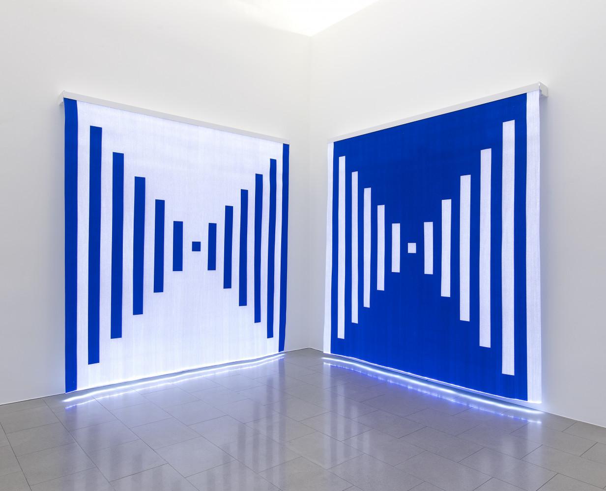 Daniel Buren, 'Fibres optiques - Bleu foncé. Diptyque K1+K2, 2013'