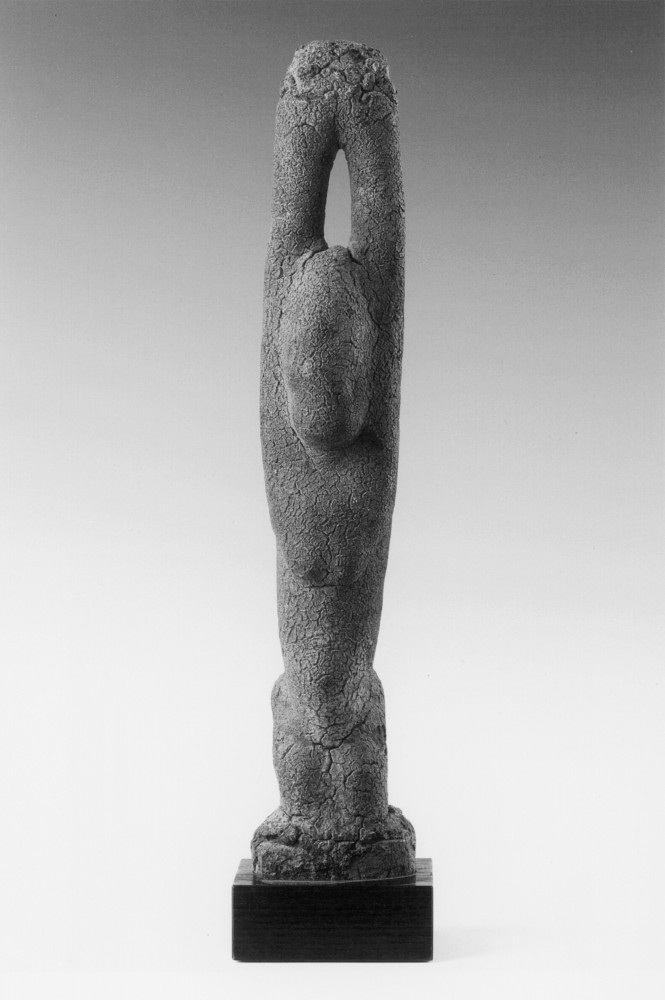 'Figure with lifted arms, workshop of the Tellem, Falais south, Dogon, Mali'
