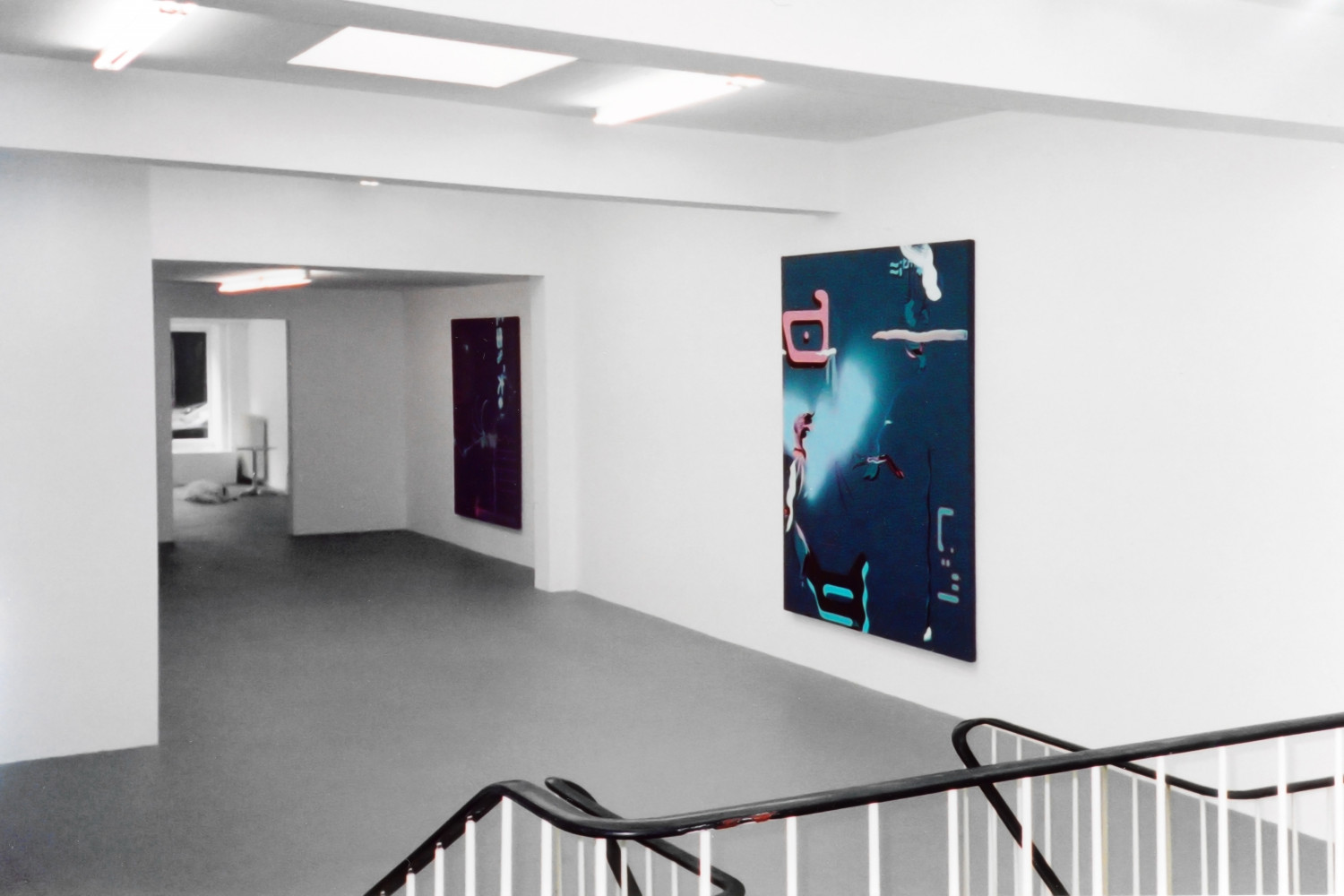 Fiona Rae, 'Recent paintings', Installation view, 2000