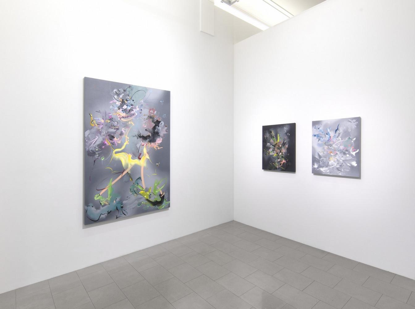 Fiona Rae, Installation view, Buchmann Lugano / Via della Posta, 2017
